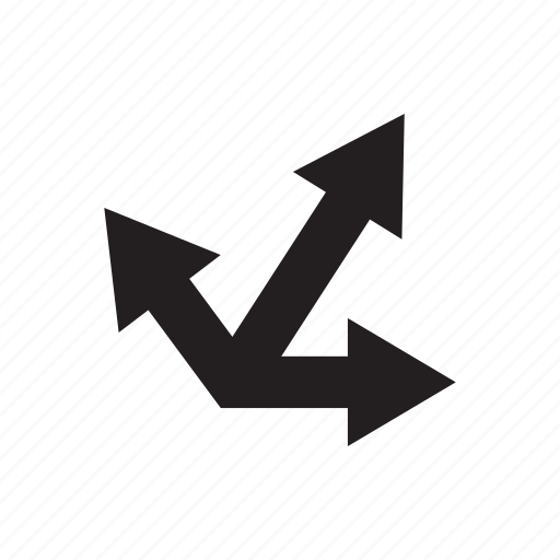 arrow, direction, three ways, way icon