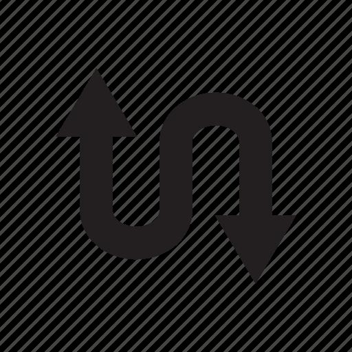 arrow, curve, direction, down, up, way, zigzag icon
