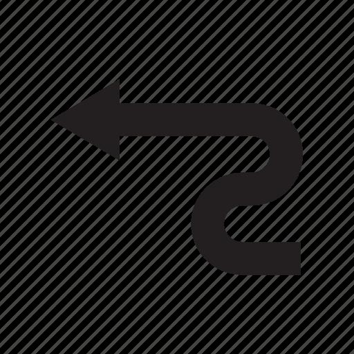arrow, back, backward, direction, left, redo, way icon