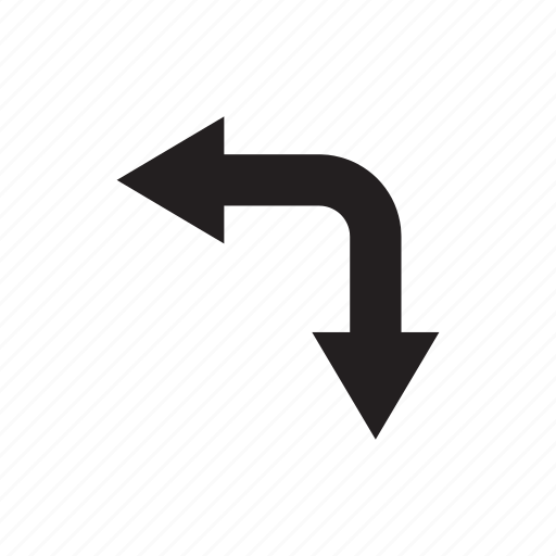 arrow, cursor, direction, down, left, way icon