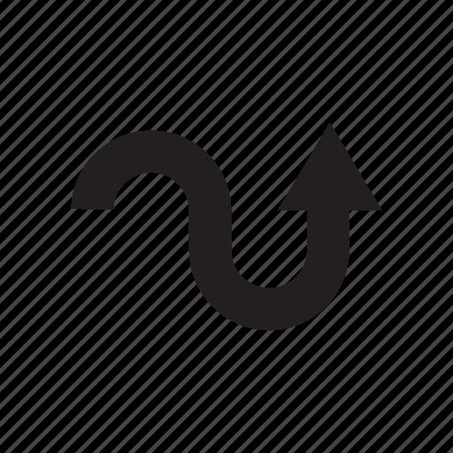 arrow, cursor, curve, direction, road way, up, way icon