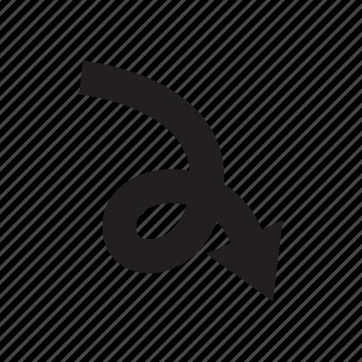 arrow, cursor, curve, direction, pointer, way icon