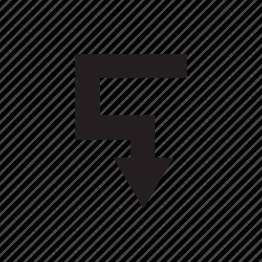 arrow, cursor, direction, down, pointer, way icon