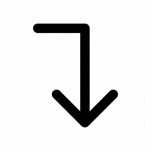 arrow, direction, down, lines icon