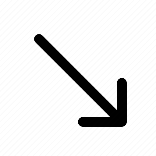 arrow, direction, down, lines, right icon