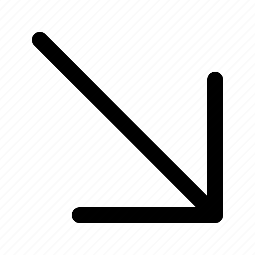 arrow, direction, down, navigation, point, right icon