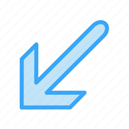 arrow, bottom, left, way icon