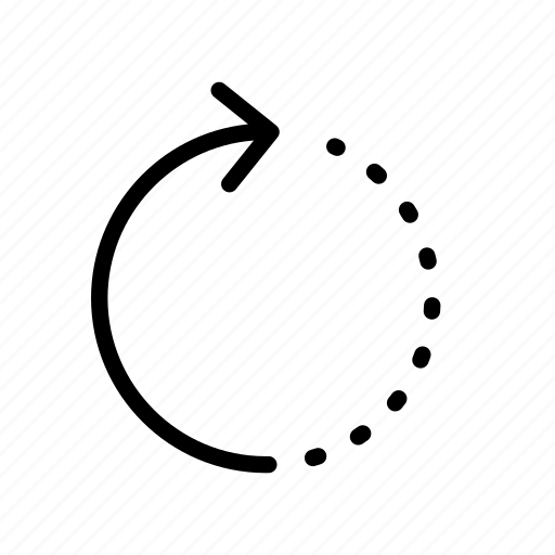 arrow, dash, dashed, dots, refresh icon
