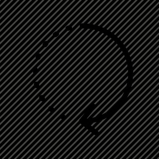 arrow, arrows, circle, dash, line, refresh icon