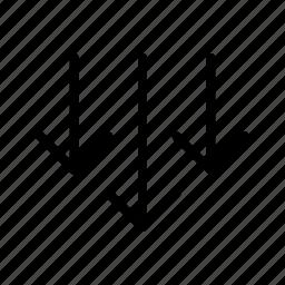 arrows, down, side, three icon
