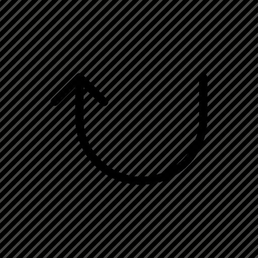 arrows, side, sign, u-turn, up icon