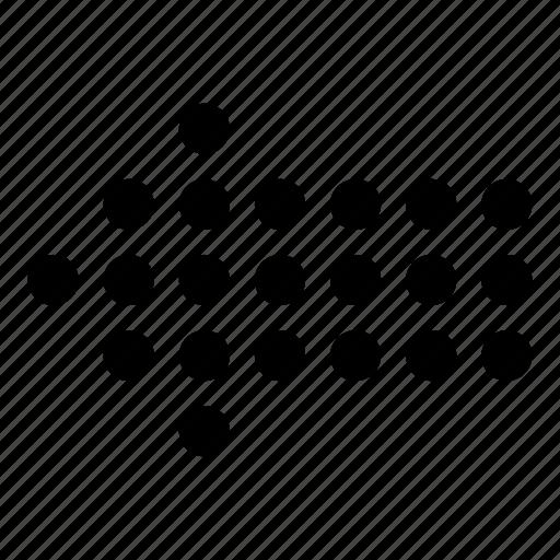arrow, direction, dot arrow, left, left arrow icon