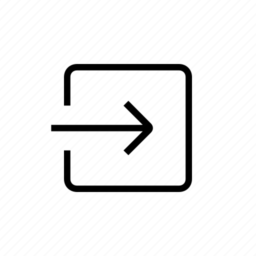 arrow, box, inside, left icon