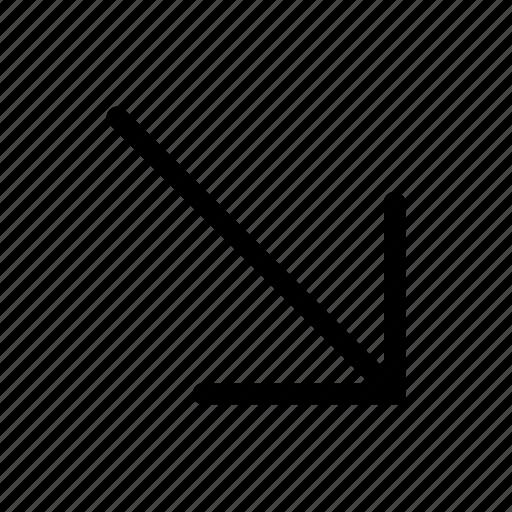arrow, direction, down, move, right icon