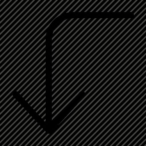 arrow, corner, direction, down, left icon