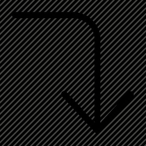 arrow, corner, direction, down, right icon