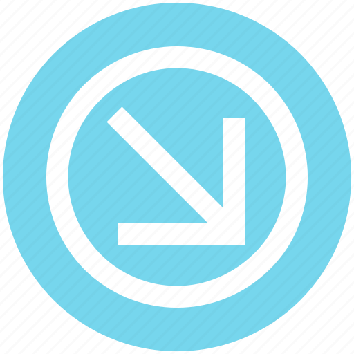 Arrow, circle, down right, forward, material icon - Download on Iconfinder