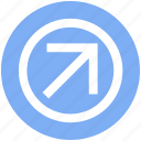 arrow, circle, forward, material, up right icon