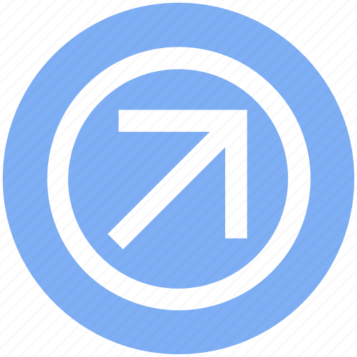 Arrow, circle, forward, material, up right icon - Download on Iconfinder