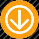arrow, circle, down, forward, material icon