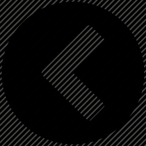 arrow, circle, course, direction, guide, left, previous icon