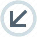 arrow, circle, down left, forward, material