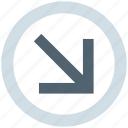 arrow, circle, down right, forward, material