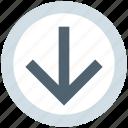 arrow, circle, down, forward, material