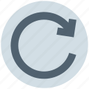 arrow, circle, line, right, rotate icon