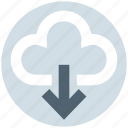 cloud, cloudy, data, down arrow, download, storage, weather