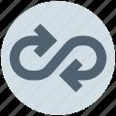 arrow, infinity, motion, random, rotate