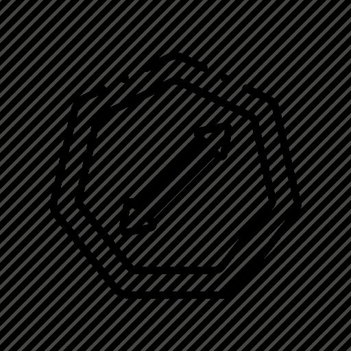 arrow, diagonal, diameter, expand, geometric, pattern, screen icon