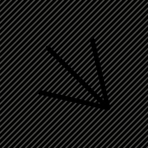 arrow, down, move, next, right icon