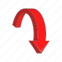 arrow, cartoon, curve, direction, down, shape, turn icon