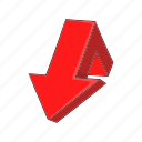 arrow, broken, cartoon, direction, down, shape, turn icon