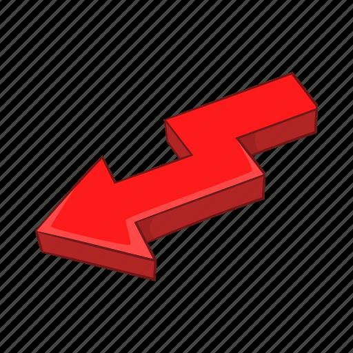 arrow, broken, cartoon, direction, shape, sign, swirl icon