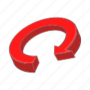 arrow, cartoon, circle, circular, direction, recycling, red