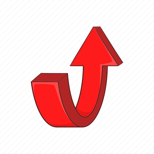 arrow, cartoon, curve, direction, red, sign, turn icon