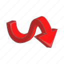 arrow, cartoon, curve, direction, next, sign, swirl