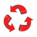 arrow, cartoon, circle, circular, direction, recycling, red icon