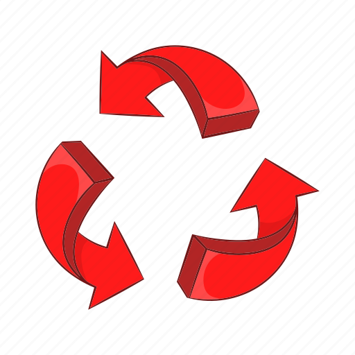 arrow, cartoon, circle, circular, direction, recycling, red icon