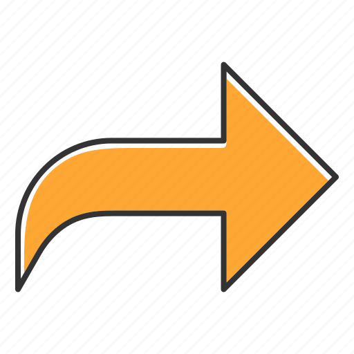 arrow, circle, curved, east, navigation, rightward, sign icon