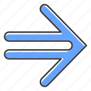 arrow, double, indicating, lined, motion, navigation, next icon