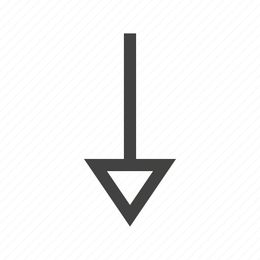 arrow, design, direction, down, pointer, round, sign icon