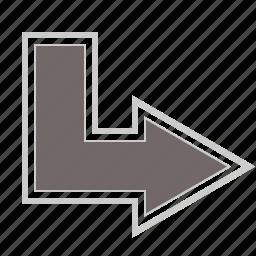 arrow, arrows, direction, down, right icon