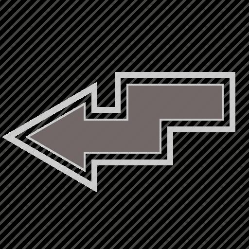 arrow, arrows, direction, down, left, zigzag icon