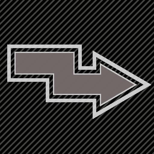arrow, arrows, direction, down, forward, location, move, navigation, next, right, zigzag icon