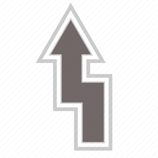 arrow, arrows, direction, left, up, upload, zigzag icon