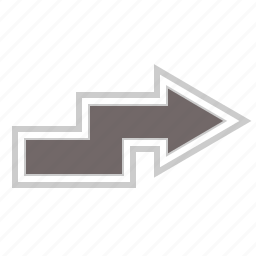 arrow, arrows, direction, forward, next, right, zigzag icon