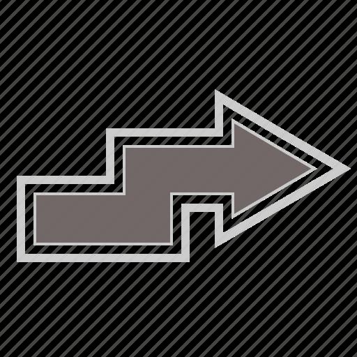 arrow, arrows, direction, forward, next, right, zigzag icon